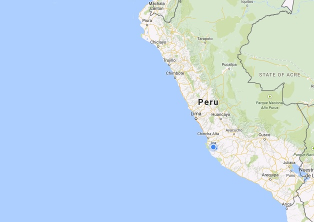 Map: the coast of Peru